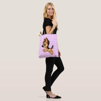 Trendy Hand Drawn Dog Pink Tote Bag | Both Sides