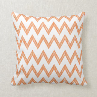 Trendy Hand Drawn Orange and White Chevron Zigzags Cushion