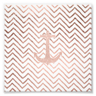 Trendy handdrawn chevron rose gold nautical anchor photo print