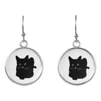 Trendy Happy Fun Black Cat CricketDiane Earrings