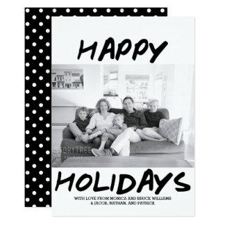 Trendy Happy Holidays Photo Card | Black