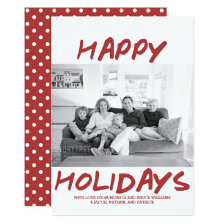 Trendy Happy Holidays Photo Card | Burgundy