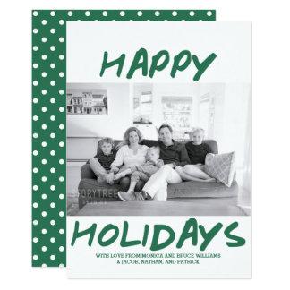 Trendy Happy Holidays Photo Card | Green