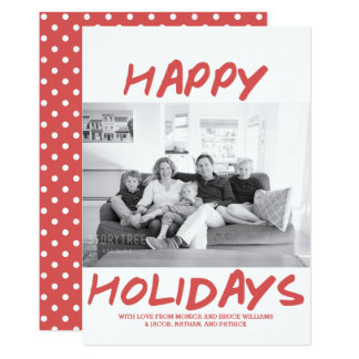 Trendy Happy Holidays Photo Card | Red