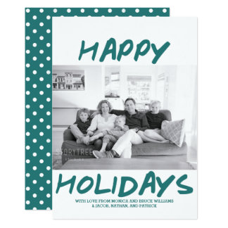 Trendy Happy Holidays Photo Card | Teal