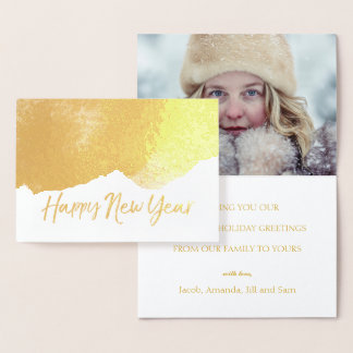 Trendy HAPPY NEW YEAR Elegant  Holiday Photo Gold Foil Card