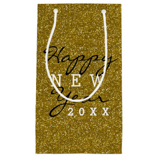 Trendy Happy New Year Gold Glitter Small Gift Bag