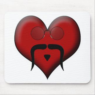 Trendy Heart Mustache Moustache Stache Mouse Pad