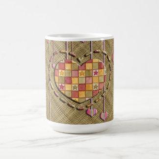 Trendy Heart on Basket Weave Basic White Mug
