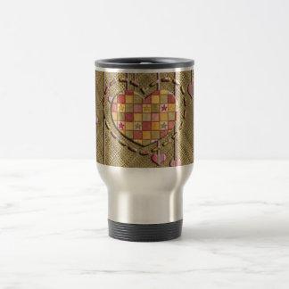 Trendy Heart on Basket Weave Stainless Steel Travel Mug