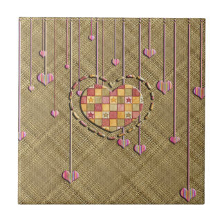Trendy Heart on Basket Weave Small Square Tile