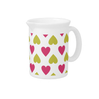 Trendy Heart Pattern | Cute Pink And Green Hearts Drink Pitchers