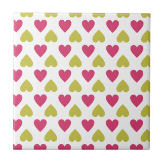 Trendy Heart Pattern   Cute Pink And Green Hearts Tiles