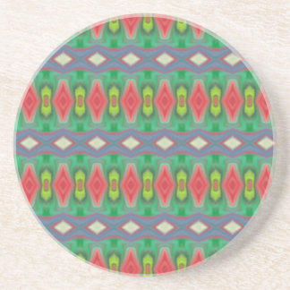 Trendy horizontal colorful pattern coaster