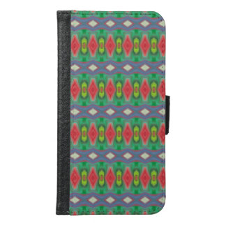 Trendy horizontal colorful pattern samsung galaxy s6 wallet case