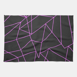 Trendy Hot Pink Abstract shattered art Tea Towel
