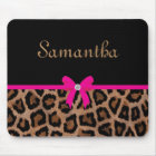Trendy Hot Pink and Black Leopard Bow Mouse Mat