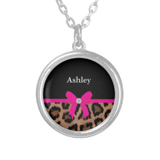 Trendy Hot Pink and Black Leopard Bow Round Pendant Necklace