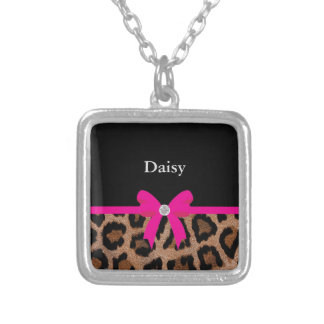 Trendy Hot Pink and Black Leopard Bow Square Pendant Necklace