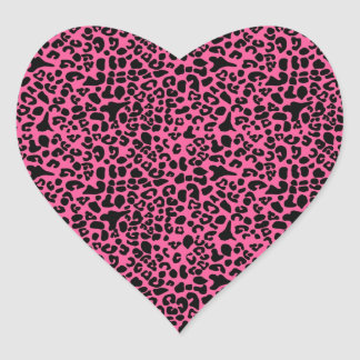 Trendy Hot Pink and Black Modern Leopard Print Heart Stickers