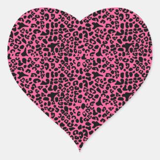 Trendy Hot Pink and Black Modern Leopard Print Heart Sticker