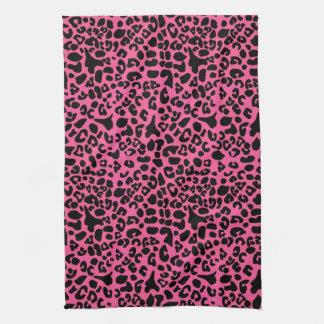 Trendy Hot Pink and Black Modern Leopard Print Tea Towel