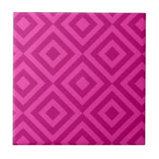 Trendy Hot Pink Diamond Pattern Small Square Tile