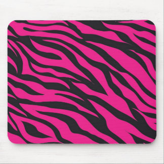 Trendy Hot Pink Fuchsia Black Zebra Stripes Print Mouse Mat