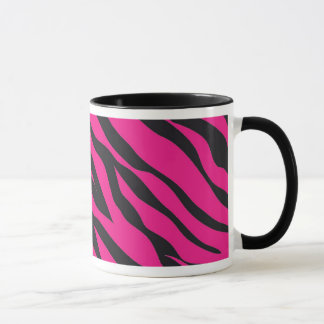Trendy Hot Pink Fuchsia Black Zebra Stripes Print Mug
