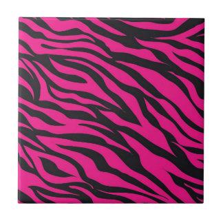 Trendy Hot Pink Fuchsia Black Zebra Stripes Print Tile