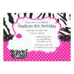 Trendy Hot Pink & Zebra Cupcake Birthday Party Custom Invitations