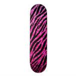 Trendy Hot Pink Zebra Print Glitz Glitter Sparkles 19.7 Cm Skateboard Deck
