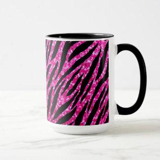 Trendy Hot Pink Zebra Print Glitz Glitter Sparkles Mug