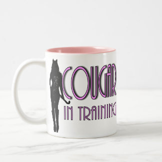 trendy hot silhouette cougar in training Two-Tone coffee mug