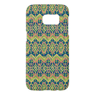 Trendy Ikat Colorful Ethnic Pattern on Blue