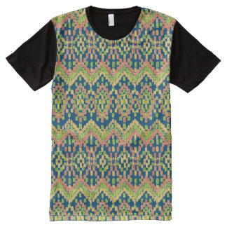Trendy Ikat Colorful Ethnic Pattern on Blue All-Over Print T-Shirt