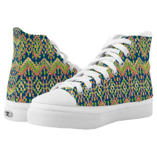 Trendy Ikat Colorful Ethnic Pattern on Blue High Tops