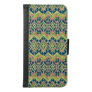 Trendy Ikat Colorful Ethnic Pattern on Blue Samsung Galaxy S6 Wallet Case