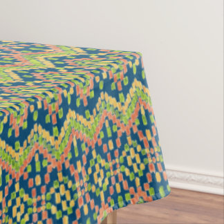 Trendy Ikat Colorful Ethnic Pattern on Blue Tablecloth