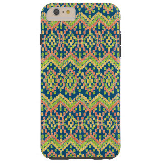 Trendy Ikat Colorful Ethnic Pattern on Blue Tough iPhone 6 Plus Case