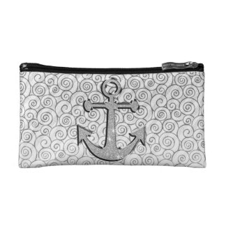 Trendy Image of White Glitter Anchor on Stripes Cosmetic Bags