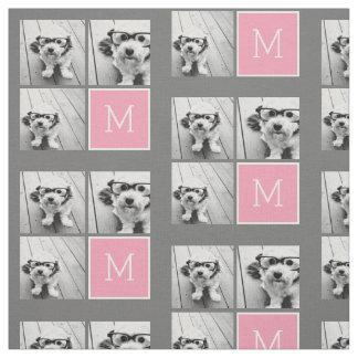 Trendy Instagram Photo Collage Custom Monogram Fabric
