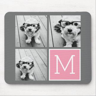 Trendy Instagram Photo Collage Custom Monogram Mouse Pad