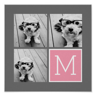 Trendy Instagram Photo Collage Custom Monogram Poster