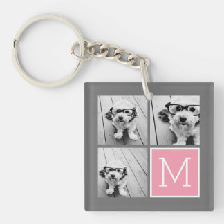 Trendy Instagram Photo Collage Custom Monogram Single-Sided Square Acrylic Key Ring