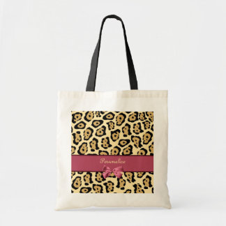 Trendy Jaguar Print With Pink Ribbon Bow and Name Tote Bag