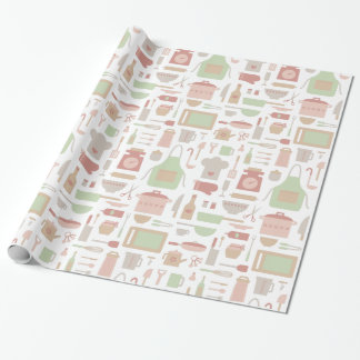 Trendy Kitchen Cooking Utensils Pattern Wrapping Paper
