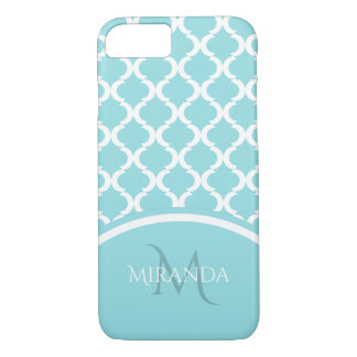 Trendy Large Aqua Quatrefoil Monongram and Name iPhone 8/7 Case
