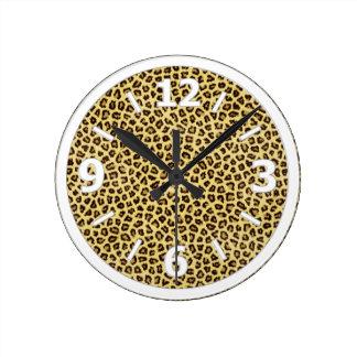 Trendy Leopard Cheetah Print Round Clock