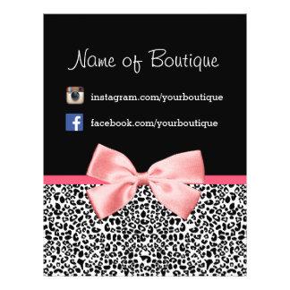 Trendy Leopard Pink Ribbon Promotional Marketing 21.5 Cm X 28 Cm Flyer
